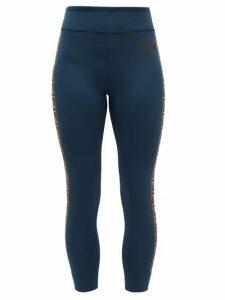 Fendi - Ff-logo Stripe Athletic Leggings - Womens - Navy