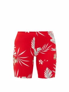 Paco Rabanne - Hawaiian-print Jersey Cycling Shorts - Womens - Red Print