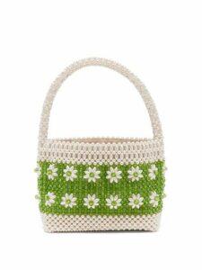 Shrimps - Ida Faux-pearl Floral-beaded Bag - Womens - Green Multi