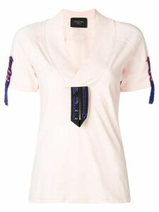 Mr & Mrs Italy embroidered detail T-shirt - PINK