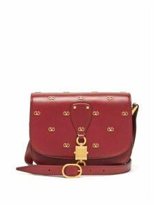 Valentino Garavani - V-locker And V-logo Leather Bag - Womens - Burgundy