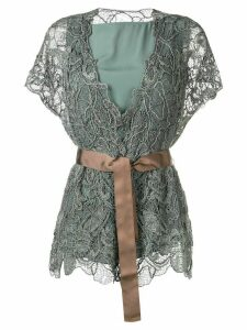 Brunello Cucinelli layered lace detail top - Green