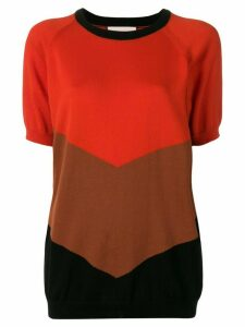Plan C colour block knit top - Red