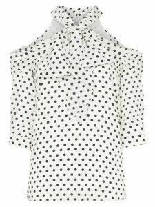 Erdem Elin polka-dot silk halterneck blouse - White