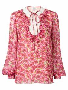 Giambattista Valli floral ruffle blouse - PINK
