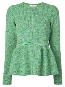 Tibi bouclé peplum knitted top - Green
