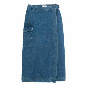 Long Denim Wrapover Skirt