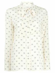 Valentino V logo print blouse - White