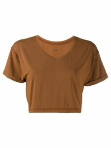 Styland cropped V-neck T-shirt - Brown