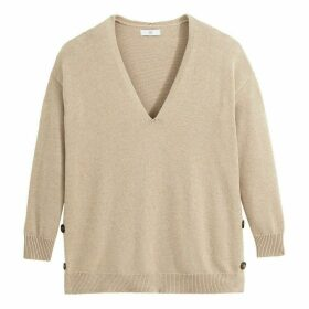 Chunky Knit Jumper with V-Neck