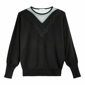 Fine Cotton Mix Jumper with Lace Inset