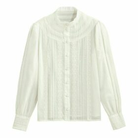 Cotton High-Neck Blouse with Lace Details