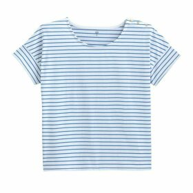 Striped Cotton T-Shirt with Boat-Neck and Short Sleeves