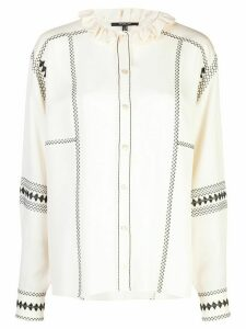 Derek Lam Long Sleeve Embroidered Button-Down Shirt - White