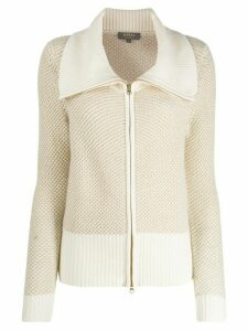N.Peal zipped knitted cardigan - NEUTRALS