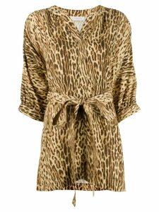 Zimmermann leopard print belted blouse - NEUTRALS