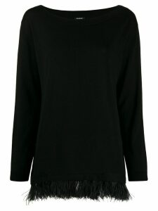 P.A.R.O.S.H. boat neck feather trim sweater - Black