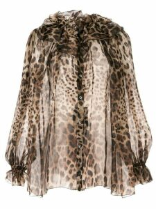 Dolce & Gabbana sheer leopard blouse - Brown