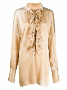 Uma Wang ruffle trim blouse - NEUTRALS