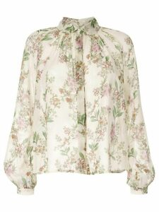 Giambattista Valli floral embroidered silk blouse - NEUTRALS