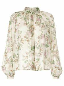 Giambattista Valli floral embroidered silk blouse - NEUTRALS