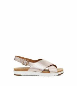 UGG Women's Kamile Metallic Sandal in Blush Metallic, Size 8, Leather