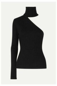 The Range - One-shoulder Ribbed Stretch-knit Turtleneck Top - Black