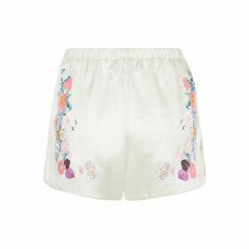 MENG Green Floral Silk Satin Shorts.