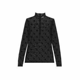 Burberry Monogram Motif Flock Mesh Turtleneck Top