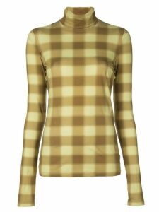 Proenza Schouler White Label diffused gingham turtleneck top - Yellow