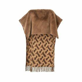 Burberry Faux Fur Detail Monogram Merino Wool Blend Cape