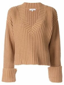 Venroy Chunky V Neck Sweater - Brown