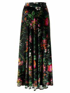 Paco Rabanne floral maxi skirt - Black