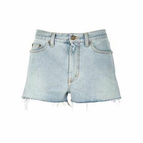Saint Laurent Light Blue Distressed Denim Shorts