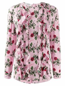 Valentino ruffle detail floral print blouse - PINK