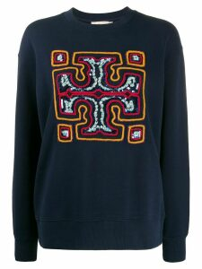 Tory Burch sequin-embroidered logo jumper - Blue