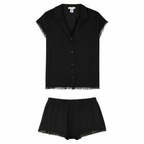 Eberjey Iona Black Ruffle-trimmed Jersey Pyjama Set