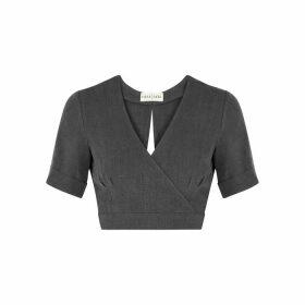 Casa Raki Jimena Slate Grey Wrap-effect Linen Top