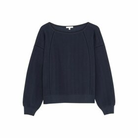 Skin Coraline Navy Stretch-cotton Sweatshirt