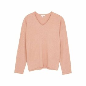 Skin Deana Pink Textured-knit Cotton-blend Sweatshirt