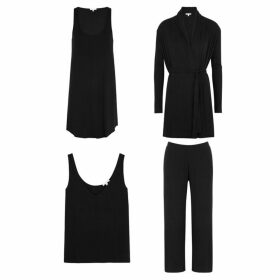 Skin Black Four Piece Jersey Pyjama Set