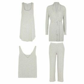 Skin Grey Four Piece Mélange Jersey Pyjama Set