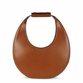 STAUD Moon Brown Leather Top Handle Bag