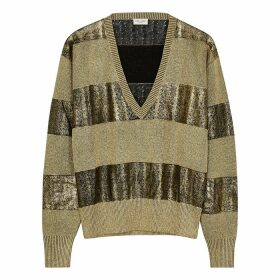 Saint Laurent Gold Striped Linen-blend Jumper