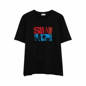 Saint Laurent Black Printed Cotton T-shirt