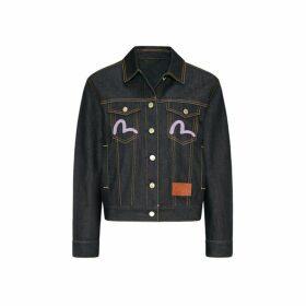 Evisu Kamon Brocade And Tiger Embroidered Denim Jacket