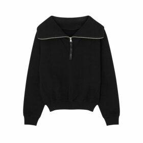 Reebok X Victoria Beckham Black Logo Half-zip Cotton Sweatshirt