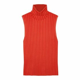 Veronica Beard Stefania Red Ribbed-knit Tank