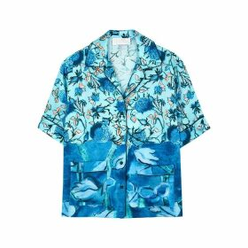 Peter Pilotto Blue Floral-print Satin-twill Shirt