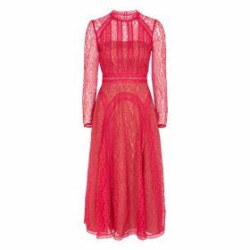 Self-Portrait Hot Pink Guipure Lace Midi Dress